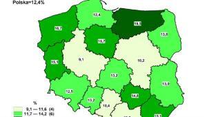 Stopa bezrobocia rejestrowanego - stan w końcu września 2012, źródło: GUS