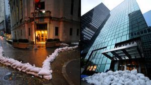 Nowy Jork przygotowuje sięna nadejście huraganu Sandy - z lewej zamknięty i zabarykadowany budynek nowojorskiej giełdy, z prawej jeden z biurowców na Manhattanie.