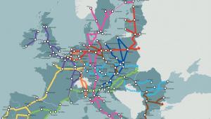 Korytarze transportowe sieci bazowej TEN-T: korytarz bałtycko-adriatycki (kolor granatowy),  korytarz Morze Północne–Bałtyk (kolor czerwony), korytarz śródziemnomorski (kolor zielony), korytarz wschodnio-śródziemnomorski (kolor brązowy), korytarz skandynawsko-śródziemnomorski (kolor różowy), korytarz Ren–Alpy (kolor pomarańczowy), korytarz atlantycki (kolor żółty), korytarz Morze Północne–Morze Śródziemne (kolor fioletowy),  korytarz Ren–Dunaj (kolor błękitny). Źródło: Komisja Europejska.