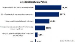 Powody niezatrudniania obcokrajowców wskazane przez przedsiębiorstwa w Polsce