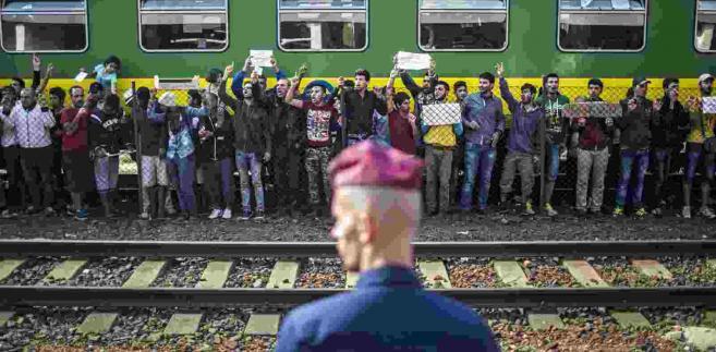 Imigranci na stacji kolejowej Bicske na Węgrzech, EPA/BALAZS MOHAI HUNGARY OUT Dostawca: PAP/EPA.
