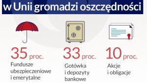 Gdzie przeciętna rodzina w Unii gromadzi oszczędności (infografika Dariusz Gąszczyk)