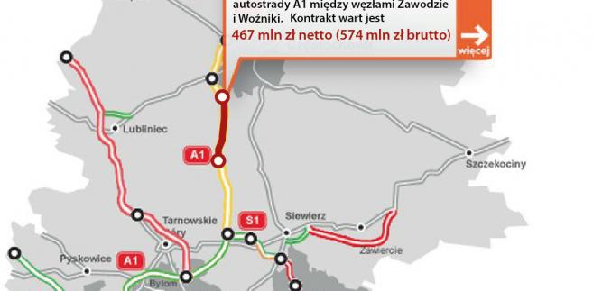 A1 - między węzłami Zawodzie i Woźniki