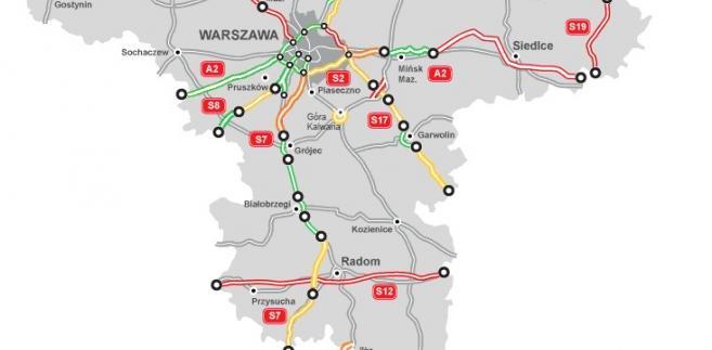 Mapa stanu budowy dróg w woj. mazowieckim