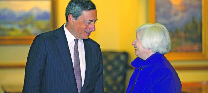 Prezes EBC Mario Draghi i Janet Yellen, prezes Fed fot. BLOOMBERG
