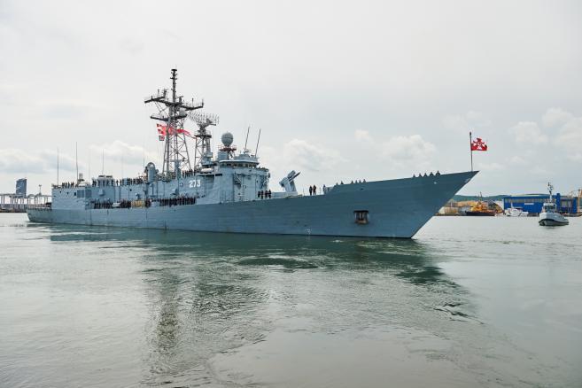 Pożegnanie fregaty rakietowej ORP Gen. Tadeusz Kościuszko w porcie wojennym w Gdyni.  (aw/mr) PAP/Adam Warżawa
