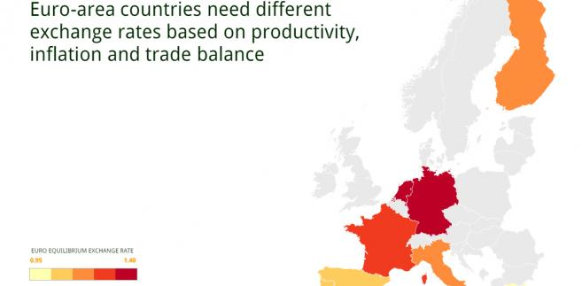 Optymalny kurs euro dla państw eurolandu - mapa
