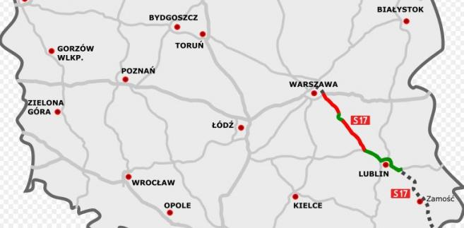 Przebieg trasy S17 Warszawa-Lublin. Autor mapy: rzyjontko (talk) - road plan based on GDDKiA website (Polish Motorways Authority) sections under construction based on SkyskraperCity stats, CC BY 3.0