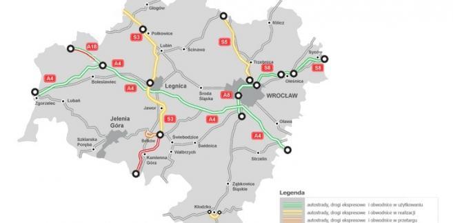 Mapa stanu budowy dróg - woj. dolnośląskie, źródło: GDDKiA