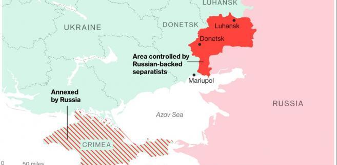 Sytuacja we wschodniej Ukrainie. Na czerwono obszar kontrolowany przez separatystów wspieranych przez Rosję