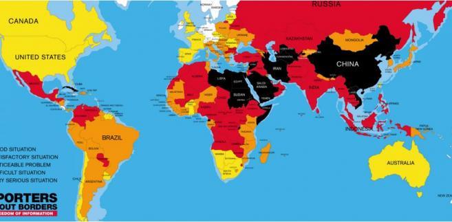 Sytuacja mediów w poszczególnych krajach świata. Na biało: dobra sytuacja, na żółto: sytuacja satysfakcjonująca, na pomarańczowo: zauważalne problemy, na czerwono: trudna sytuacja; na czarno: bardzo poważna sytuacja