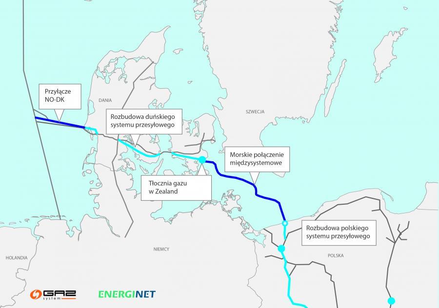 Planowany przebieg gazociągu Baltic Pipe, źródło: Gaz-System