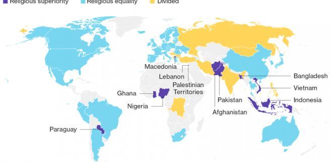 Stosunek społeczeństw poszczególnych państw do statusu religii