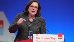 Andrea Nahles w czasie konwencji partyjnej SPD w Berlinie, 7.12.2017