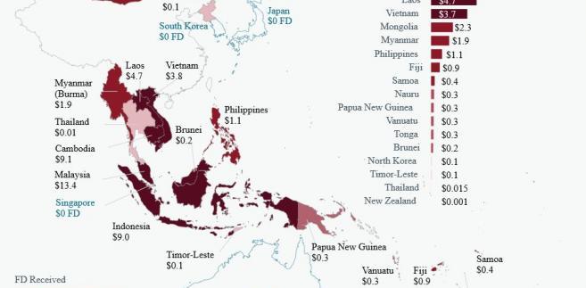 """Dyplomacja finansowa Chin w Azji Południowo-Wschodniej. Źródło: Raport """"Ties that bind"""" AidData. https://www.aiddata.org/china-public-diplomacy"""