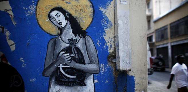 Graffiti związane z kryzysem strefy euro na jednej z ateńskich ulic