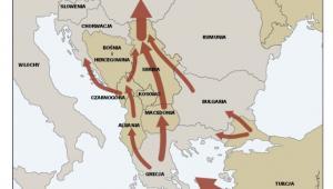 Główne szlaki nielegalnej migracji w Europie południowo-wschodniej. Źrodło: OSW