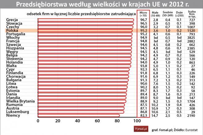 Przedsiębiorstwa według wielkości w krajach UE w 2012 r.