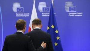 Andrzej Duda i Donald Tusk w Brukseli EPA/OLIVIER HOSLET Dostawca: PAP/EPA.