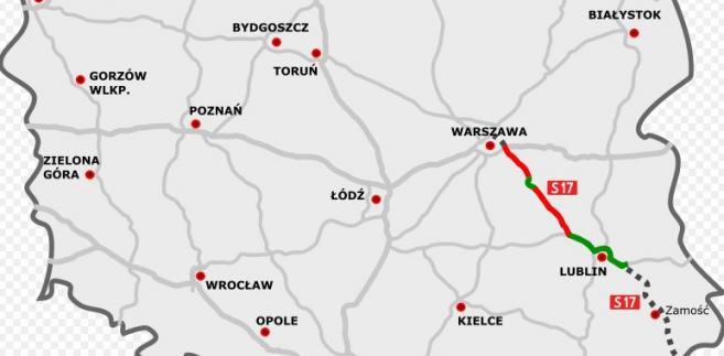 Przebieg trasy S17 Warszawa-Lublin. Autor mapy: rzyjontko (talk) - road plan based on GDDKiA website (Polish Motorways Authority) sections under construction based on SkyskraperCity stats, CC BY 3.0