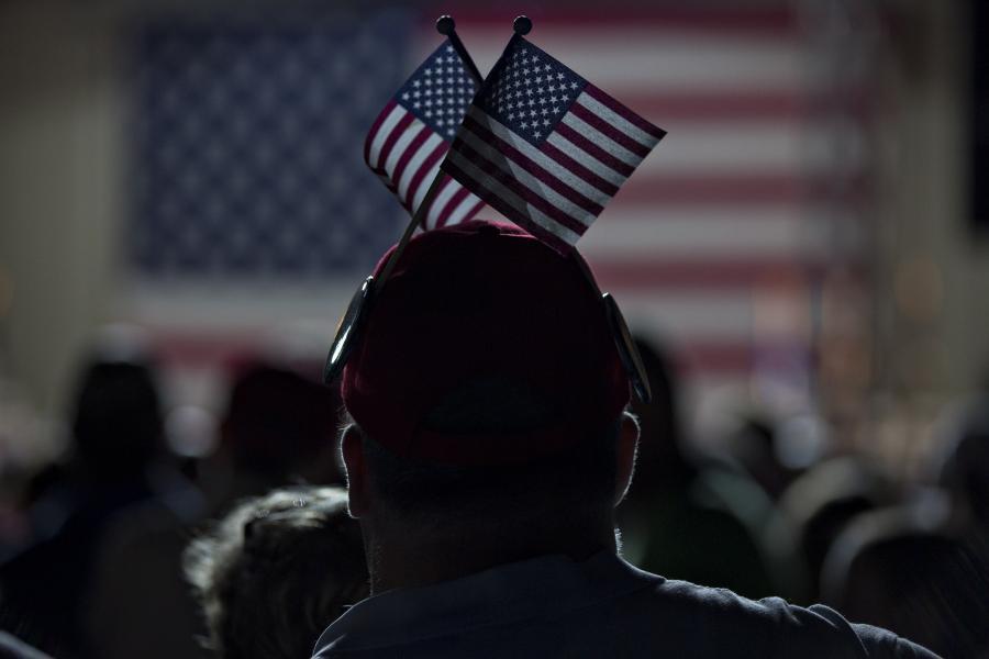 Wyborca Donalda Trumpa, Selma w stanie Karolina Północna, USA. 3.11.2016