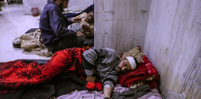 Ranni cywile po bombardowaniach w Syrii