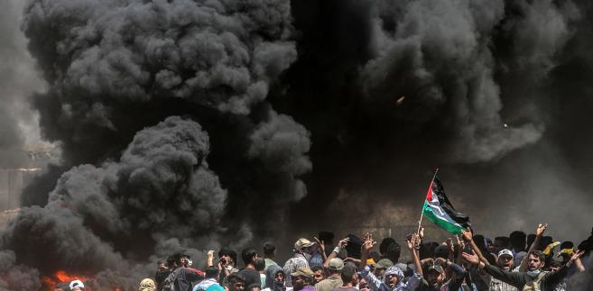 Protesty Palestyńczyków przeciwko przeniesieniu ambasady USA z Tel Awiwu do Jerozolimy, Strefa Gazy, 14.05.2018