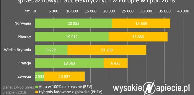 Sprzedaż nowych aut elektrycznych w Europie w I połowie 2018 roku