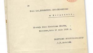 Akt mianowania Eugeniusza Kwiatkowskiego na ministra skarbu, maj 1936 r. fot. AAN