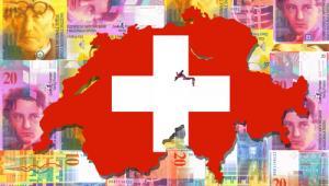 Szwajcaria na tle z banknotów, fot. Stephen Finn